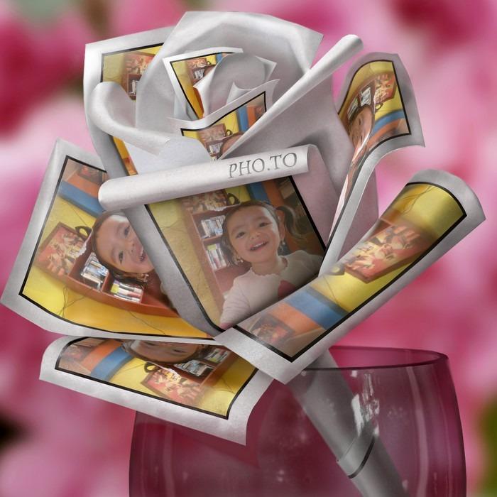 Crear fotomontaje gratis en flor de papel