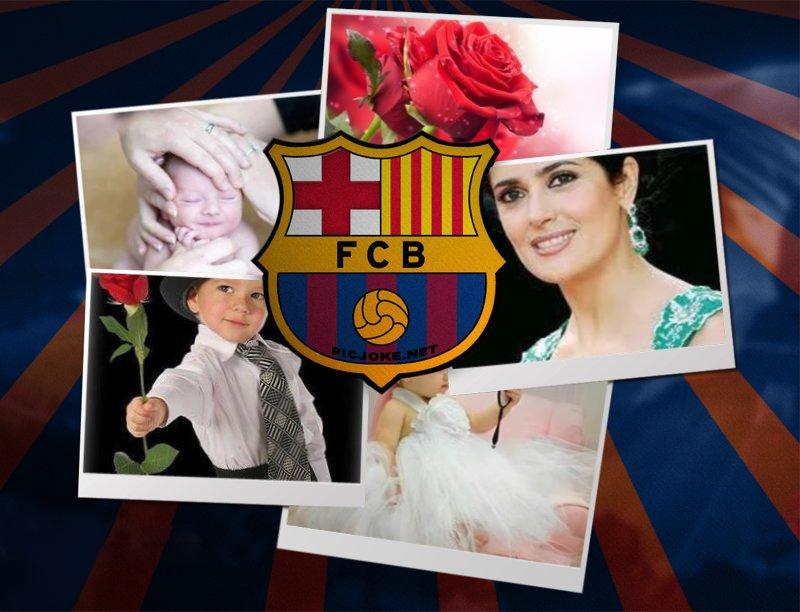 Marco para varias fotos con el escudo del fútbol club barcelona