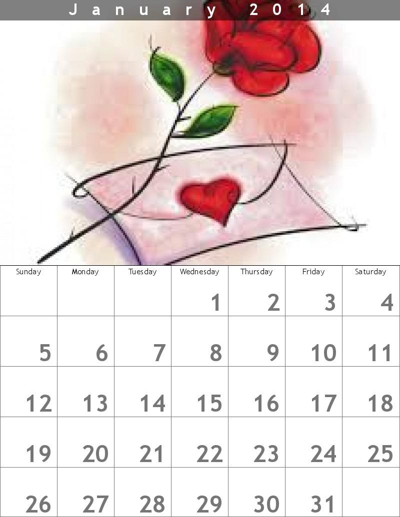 calendario mensual enero 2014