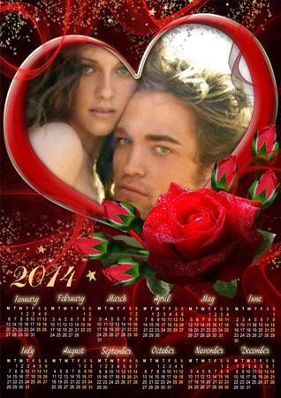 Calendario 2014 para editar fotos gratis