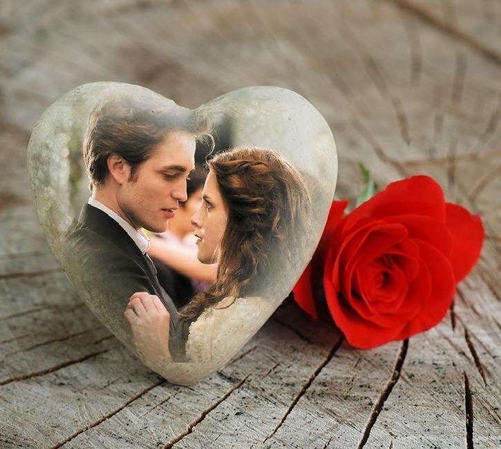 Fotomontaje de amor en corazón de piedra