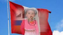 Fotomontaje en la bandera del perú por fiestas patrias