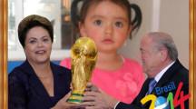 Marco de fotos con la presidenta de Brasil y el presidente de la FIFA