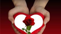 Bello fotomontaje de amor en un corazón