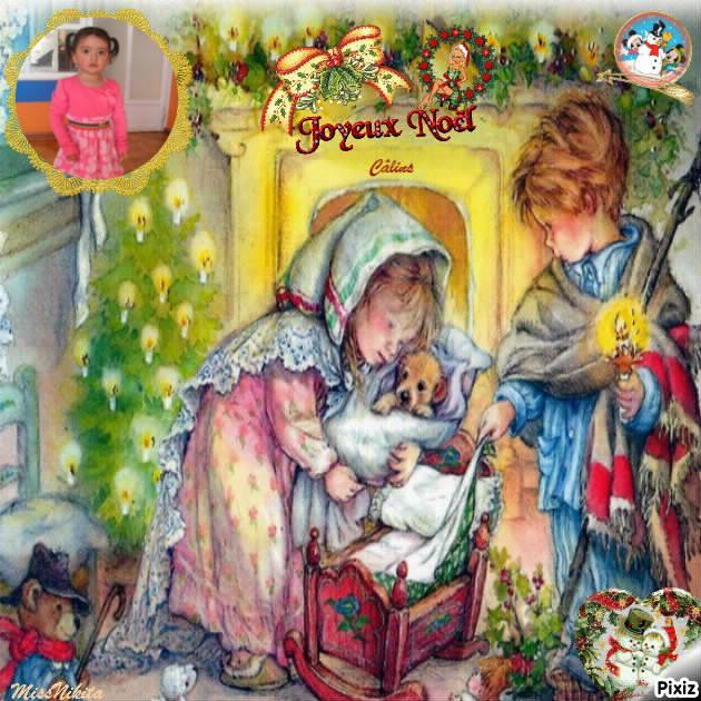 Fotomontaje de infantile de navidad