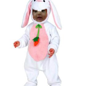 Fotomotaje infantil con un conejo de pascua