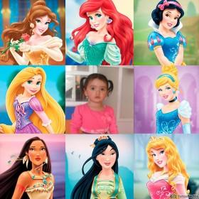 fotomontaje infantil con las princesas más famosas del mundo