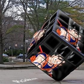 Mira a goku en un montaje de cubo