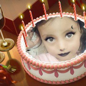 Fotomontaje de cumpleaños en una torta