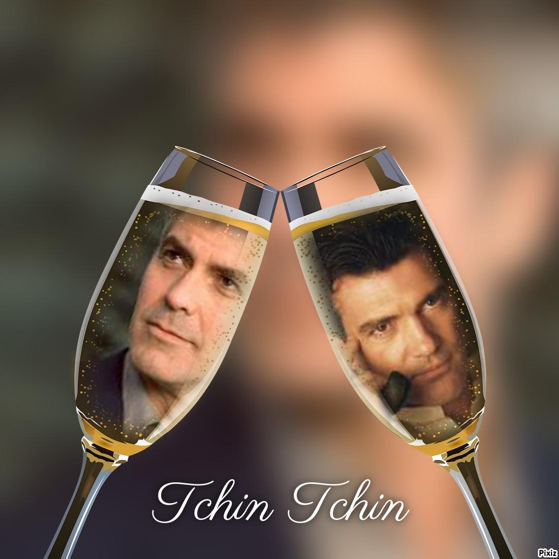 Fotomontaje en copas de champan