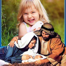 Fotomontaje de navidad en pesebre de Jesús
